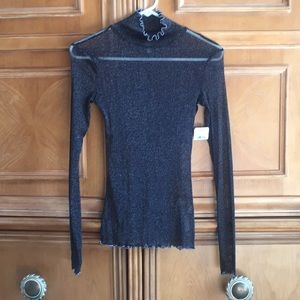 Free People Black Glitter Sparkle Mesh Top S